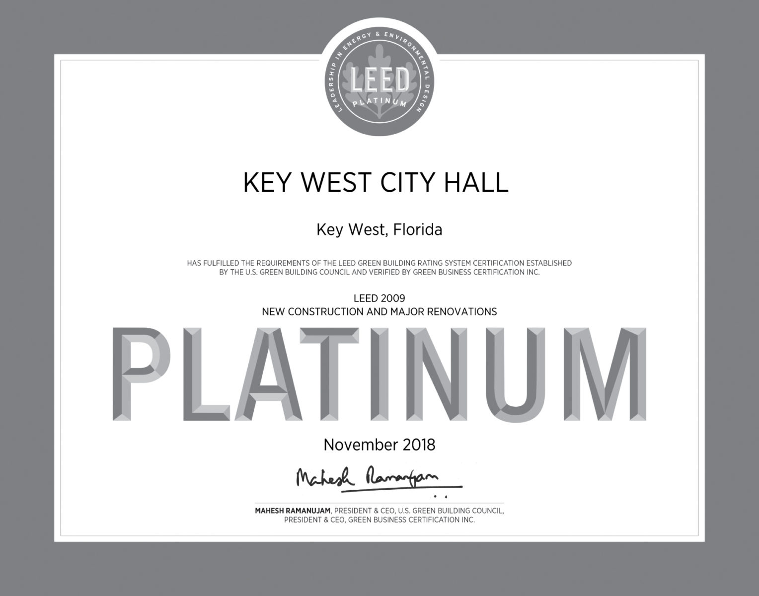 Key West City Hall Attains Platinum Leed Certification Konk Life